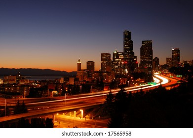 Seattle city downtown skyline with freeways in the front