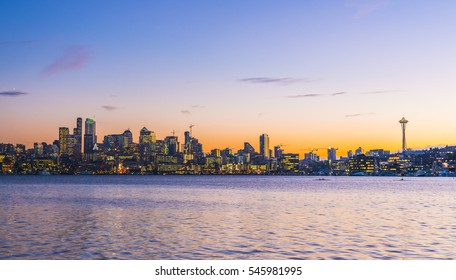 Seattle city scape at night with reflection on Union lake,Seattle,Washington,usa.