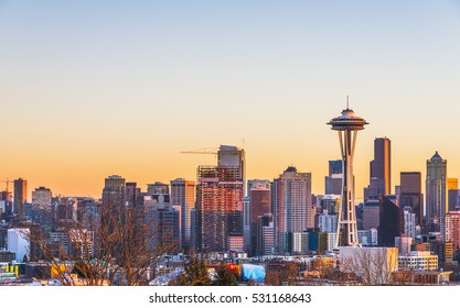 Seattle city scape on nw year day at sunset,Washington,usa.