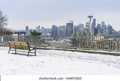 seattle city scape with snow covered in winter,Washington,usa.