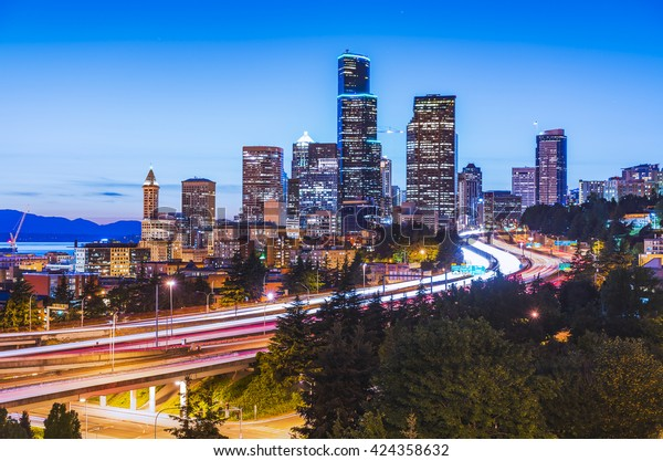 seattle city scape with traffic light from highway at night time,Washington,usa.