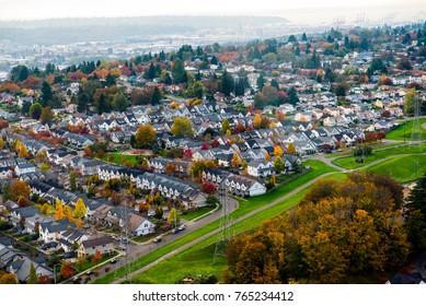 Seattle colorful urban sprawl- aerial view