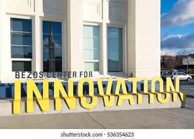 SEATTLE - Dec. 4,2016:Sign for the Bezos Center for Innovation at the Museum of History and Industry. Named for the founder of Amazon, the center inspires future entrepreneurs to be creative thinkers.