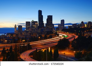 seattle downtown with interstate highway at dusk