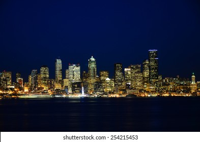 Seattle downtown night view from Alki Beach Part