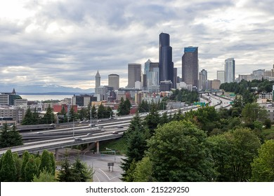Seattle Downtown and Overcast Sky