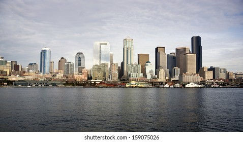 Seattle Downtown Piers Dock Waterfront Elliott Bay Ferry Approach