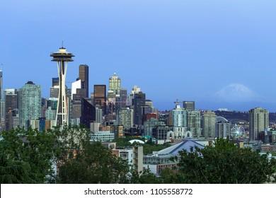 Seattle downtown skyline evening