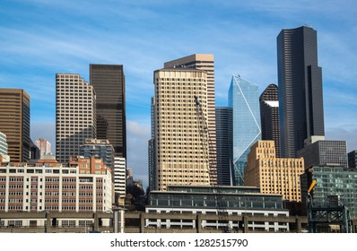 Seattle downtown skyline at sunny day with modern buildings