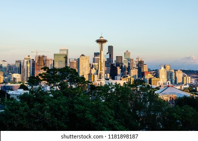 Seattle Downtown skyline at sunset in Seattle, Washington, USA on 4th August 2018