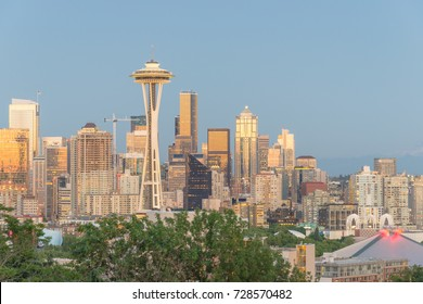 Seattle downtown skylines and urban office buildings at sunset/twilight as seen from Kerry Park.