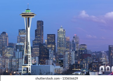 Seattle in the Evening with Space Needle
