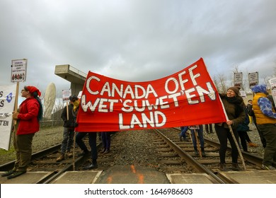 SEATTLE - FEB 16 2020: Protesters block a freight and passenger rail line through Seattle as they support the Wet'suwet'en First People in their protest of the Coastal GasLink natural gas pipeline.