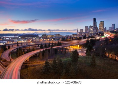 Seattle Highways and Skyline at Sunset