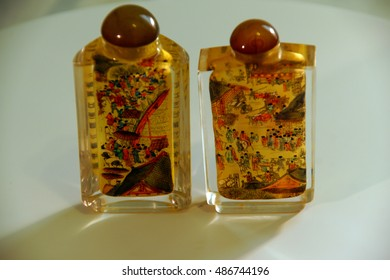 SEATTLE - JUL 1, 2016 - Chinese crystal snuff bottle, painted from the inside