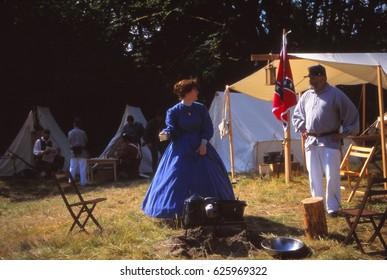 SEATTLE - JUL 10, 1996 - Confederate camp during a Civil War battle reenactment near Seattle