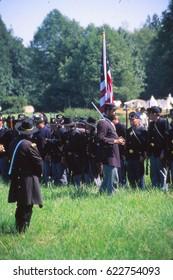 SEATTLE - JUL 10, 1996  - Union infantry lines await an attack in Civil War battle reenactment