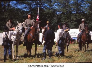 SEATTLE - JUL 10, 1996 - Union camp during a Civil War battle reenactment near Seattle
