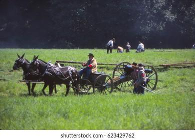 SEATTLE - JUL 10, 2008 - Confederate artillery moves into position,Civil War battle reenactment