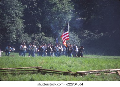 SEATTLE - JUL 10,2013 - Union camp during a Civil War battle reenactment near Seattle