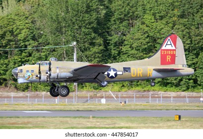 SEATTLE - JULY 03, 2016: The B-17G FLying Fortress - One of the most recognized WWII aricraft.