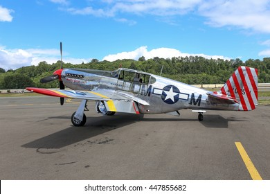 SEATTLE - JULY 03, 2016: A very rare P-51C Mustang owned by the Collings Foundation was seeing flying in the skies over Seattle, WA. This is 1 of only 5 built during WWII.