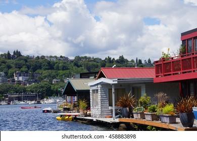 SEATTLE - JUN 16, 2016 - Seattle houseboats moored on  Lake Union