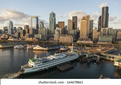 SEATTLE - JUNE 11 2013: Aerial photograph of City Skyline and car ferry , June 11, 2013 in Seattle, Washington, USA.