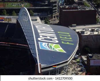Seattle - June 25, 2016: Aerial view of CenturyLink Open Dome, roads and Safeco Field. Home of the Seattle Seahawks (NFL), Mariners (MLB) and Sounders (MLS).