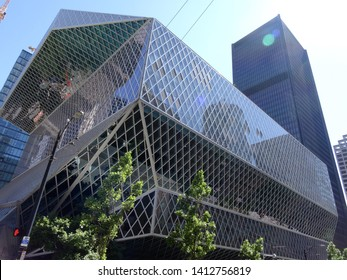 Seattle - June 25, 2016: Public Library. The Seattle Central Library opened in 2004 and was designed by Rem Koolhaas and Joshua Prince-Ramus.
