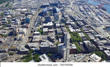 SEATTLE - JUNE 25: Aerial view of smith building, CenturyLink, train tracks, buildings, roads, and Safeco Field in Seattle in June 25, 2016. Home of the Seattle Seahawks (NFL), Mariners (MLB).