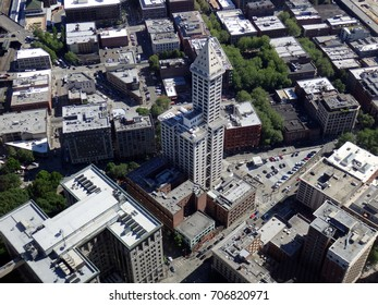 SEATTLE - JUNE 25:  Big beautiful view of Smith Tower building, 38-story 149 m tall building was completed in 1914, and surrounding Seattle downtown, from high vantage point June 25, 2016 Seattle, WA.