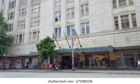 SEATTLE-- JUNE 25:  Entrance to Macy's Store in historic building on June 25, 2016 in Seattle, WA.  Macy's division operates 728 department store locations in the continental United States