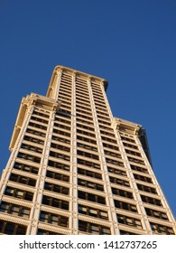 Seattle-- June 26, 2016:  Looking up at the big beautiful view of Smith Tower building at dusk, 38-story 149 m tall building was completed in 1914, in downtown  on June 26, 2016 in Seattle, WA.
