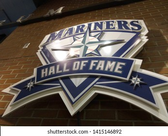 Seattle - June 26, 2016: Mariners Hall of Fame Plague on the wall during baseball game at Safeco Field, Seattle in June 26, 2016.