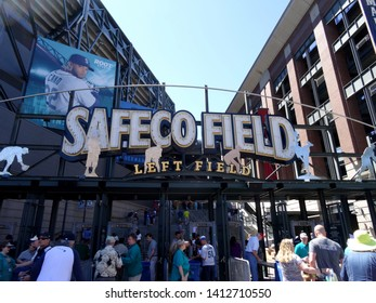 Seattle - June 26, 2016: People enter into Left Field Gate to Safeco Field. Home of the Seattle Mariners.