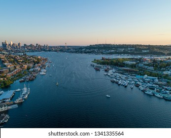 Seattle Lake Union Summertime Aerial View Scene Sailboats Sunset