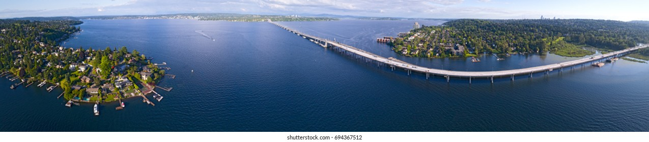 Seattle Lake Washington 520 Floating Bridge Panorama