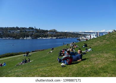 SEATTLE, MAR 30, 2019 - Locals enjoy a sunny spring day at Gas Works Park, Seattle, Washington