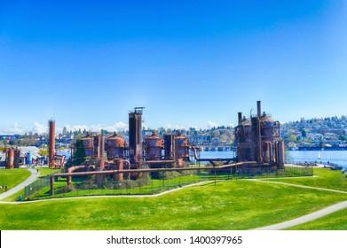 SEATTLE - MAR 30, 2019 - Vintage gas works now public art installation in Gas Works Park, Seattle, Washington