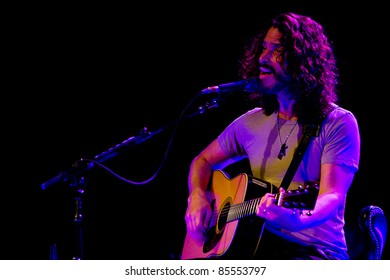SEATTLE - MAY 1: Solo rock musician and lead singer of heavy metal band Soundgarden Chris Cornell plays acoustic guitar and sings on stage at the Moore Theater in Seattle on May 1, 2011.