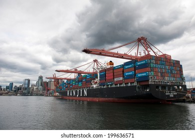 SEATTLE - MAY 10: A Hanjin freighter is seen docked on Harbor Island in Seattle, Washington on May 10, 2014.