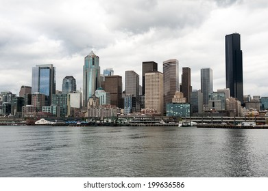 SEATTLE - MAY 10: An overcast view of the Seattle skyline seen from Elliott Bay on May 10, 2014.