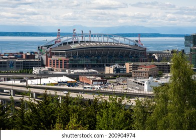 SEATTLE - MAY 11: Century Link Field, home stadium of the Seattle Seahawks and Seattle Sounders, seen on May 11, 2014 in Seattle.