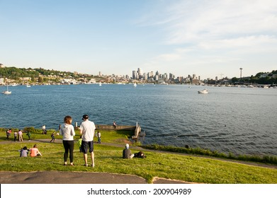 SEATTLE - MAY 11: Gas Works Park overlooks Lake Union and the Seattle skyline in Seattle on May 11, 2014.