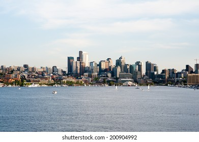 SEATTLE - MAY 11: A late afternoon view of Seattle with Lake Union in the foreground on May 11, 2014.