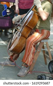 SEATTLE - MAY 18, 2019 - Cello artist plays classical music at  the 50th Annual University District Street Fair (oldest in the country),Seattle, Washington