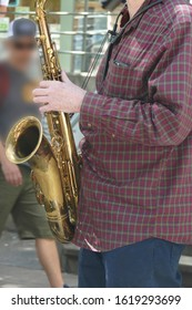 SEATTLE - MAY 18, 2019 - Saxaphone artist plays jazz at  the 50th Annual University District Street Fair (oldest in the country),Seattle, Washington