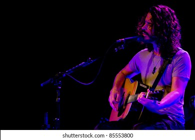 SEATTLE - MAY 1:Solo rock musician and lead singer of heavy metal band Soundgarden Chris Cornell plays acoustic guitar and sings on stage at the Moore Theater in Seattle on May 1, 2011.