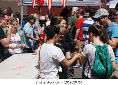 SEATTLE - MAY 21, 2017 - People sample the food at  the University District Street Fair (oldest in the country),Seattle